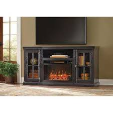 tv stand bluetooth electric fireplace in black