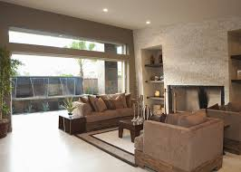 beautiful open living room with view of water feature beautiful living rooms