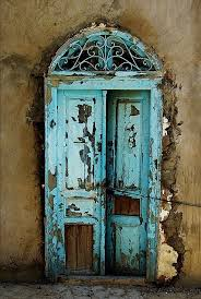 fabulous door old door s turquise blue curve weathered beauty aged curve details ornaments photo