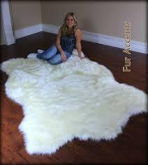 Faux Bearskin Rug White Faux Fur Area Rug Furniture Oh Furniture