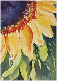 sunflower in watercolour inspired by this painting course by angela fehr