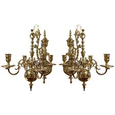 19th century pair of four brass candle chandelier wall sconces for