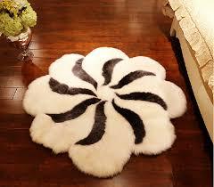 flower shaped rugs stylish double sheepskin rug otelon fur within 18