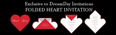 folded hearts wedding invitations, folded hearts invites Simple Folded Wedding Invitations the folded heart range is available in over 100 designs, is fully customised for each bride including all stationery accessories to match simple pocket wedding invitations