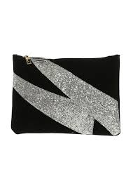 Designer Black Suede Clutch Bag Black Suede Glitter Clutch Bag