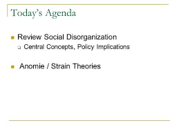 social structure theories of crime ppt video online  today s agenda review social disorganization  central concepts policy implications anomie strain theories