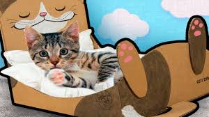 diy cat bed from cardboard craft ideas for cats kittens