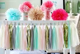mint green light pink grey cream gold tissue paper tassel garland wedding birthday bridal shower baby shower party decorations