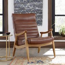 image of stylish pottery barn leather chair