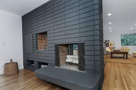 mid century modern outdoor fireplace