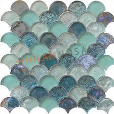 fan shaped green blue glass mosaics glass tiles bathroom wall mosaic tiles mg fnp045