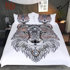 bedding tattoo head wolf wild beast bedding set le animal print duvet cover set microfiber bedspread