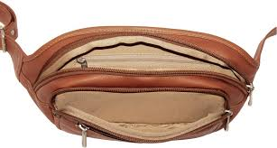 piel leather 3086 multi zip oval waist bag