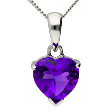 9ct white gold heart amethyst solitaire pendant
