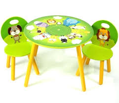 kids wooden play table round green and yellow painted table and 2 chair with animal picture