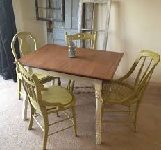 Narrow Kitchen Table Sets Hand Crafted Vintage Small Kitchen Table With Four Miss Matched