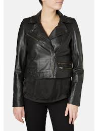muubaa columbia black cropped biker jacket