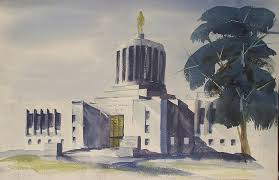 Oregon State Capitol Building Painting by Fern Smith