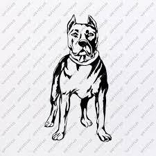 Pit Bull Svg File Tattoo Svg Original Design Pitbull Clip Art Animals Svg File Vector Graphics Svg For Cricut For Silhouette Dxf Eps