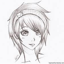 anime hairstyles for girls sketch. Cute Anime Girl Sketch Hairstyles For Girls Art Pinterest With