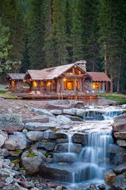 Mountain Stone House With Waterfall