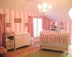 baby girl room chandelier. Baby Girl Nursery Room With Stripes Pink White Walls And Chandelier : Decorating R