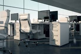 pictures of an office. workstation side view of an office sets white armchairs and desks with a monitors on pictures u