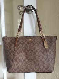 Coach F58318 Signature Ava Tote Khaki Saddle Coated Canvas  Coach   TotesShoppers