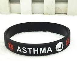 Meiw Elegant Asthma Medical Alert Awareness <b>Silicone Wristband</b> ...