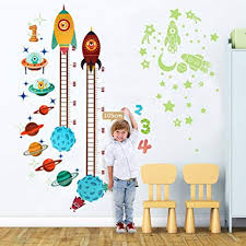 Wall Measuring Chart Ourwarm Planets Rocket Wall Sticker Baby Height Growth Chart Glow In The Dark Stickers Growth Chart For Kids Bedroom Nursery Home Decorations