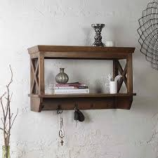 alonza solid wood wall shelve with hooks