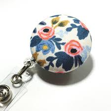 paper co blue fl badge reel flower id badge holder retractable badge holder nurse badge