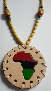 natural leather pan african medallion necklace w beads