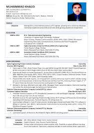 Telecommunication Resume Muhammad Khalid Cv