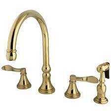 Polished Brass Kitchen Faucet Kingston Brass Victorian English Cross 2 Handle Standard Kitchen