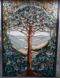 tiffany style tree of life stained glass window panel wall hanging