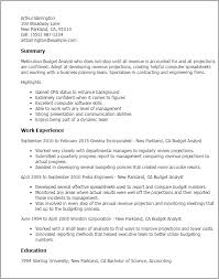 Resume Templates: Budget Analyst