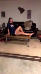 Girl falls through table