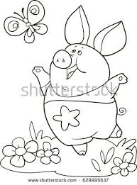 coloring page outline of cartoon cute pig with erfly vector ilration coloring book for