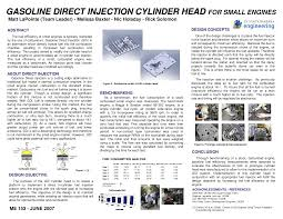 Gasoline Direct Injection Cylinder Head for Small Engines | ME 153 - Docsity