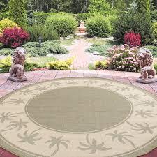 8 round area rug indoor outdoor palm tree green and beige