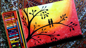 1280x720 how to draw lovebirds in a sunset sunset drawing oil pastel