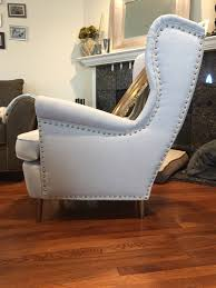 Armchair Upholstery Added Upholstery Tacks To The Strandmon Wing Back Chair New