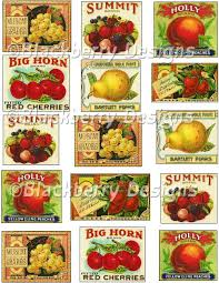 Vintage Food Labels Decoupage Paper Collage Sheet Vintage Food Crate Labels Vintage