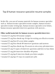 Top 8 human resource specialist resume samples In this file, you can ref  resume materials ...