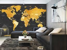 photo wallpaper map golden world 95022