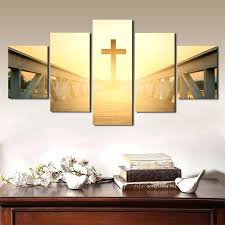 Christian Poster Ideas Wall Art Poster Prints 5 Panel Sunset Christian Cross Picture Canvas