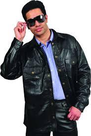 mens leather shirt in genuine goat nappa black