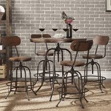 Craftsman Stool And Table Set Traditional Dark Brown Wood Pub Set By Baxton Studio Tables Bar