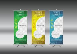 Hoarding Design Templates Roll Up Banner Template Vector Illustration Download Free Vector